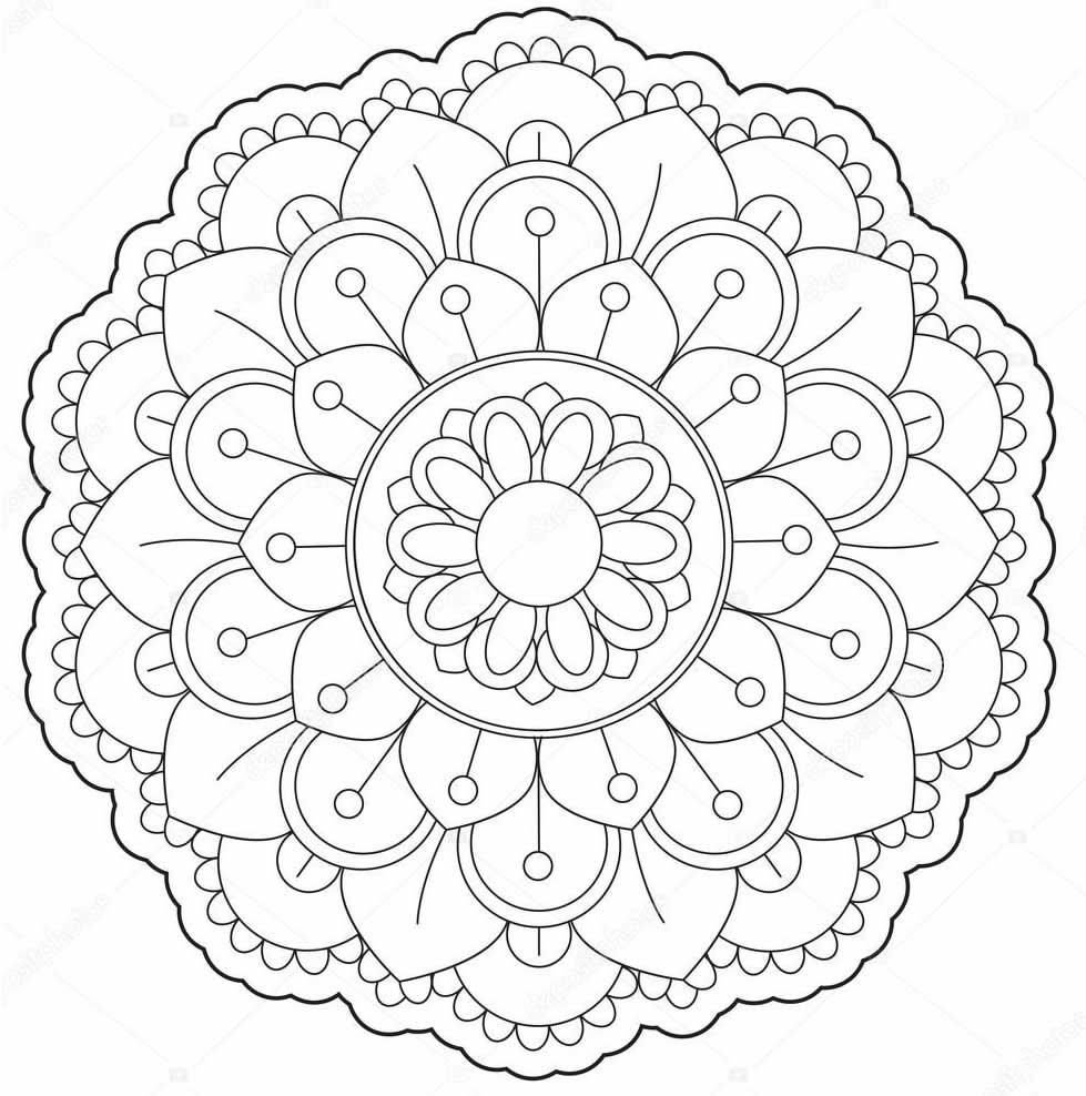 Lindo molde de Mandala para colorir