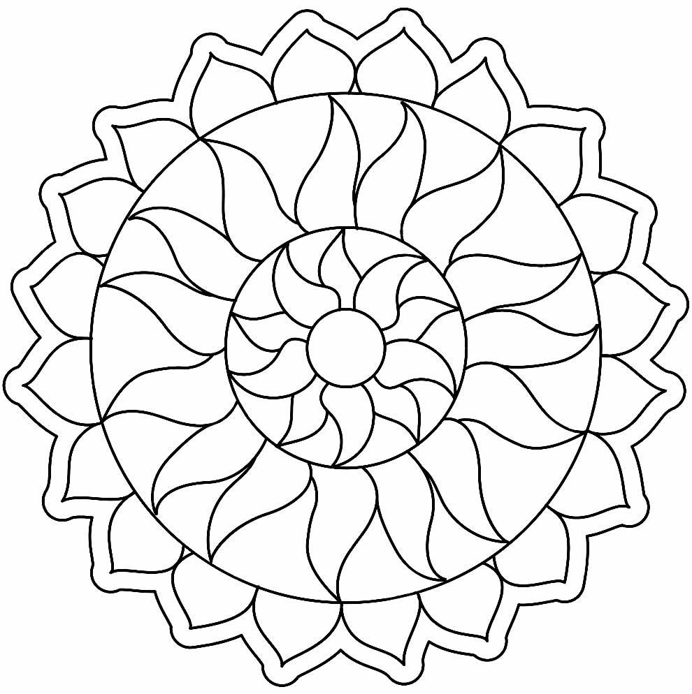 Lindo desenho de Mandala para colorir