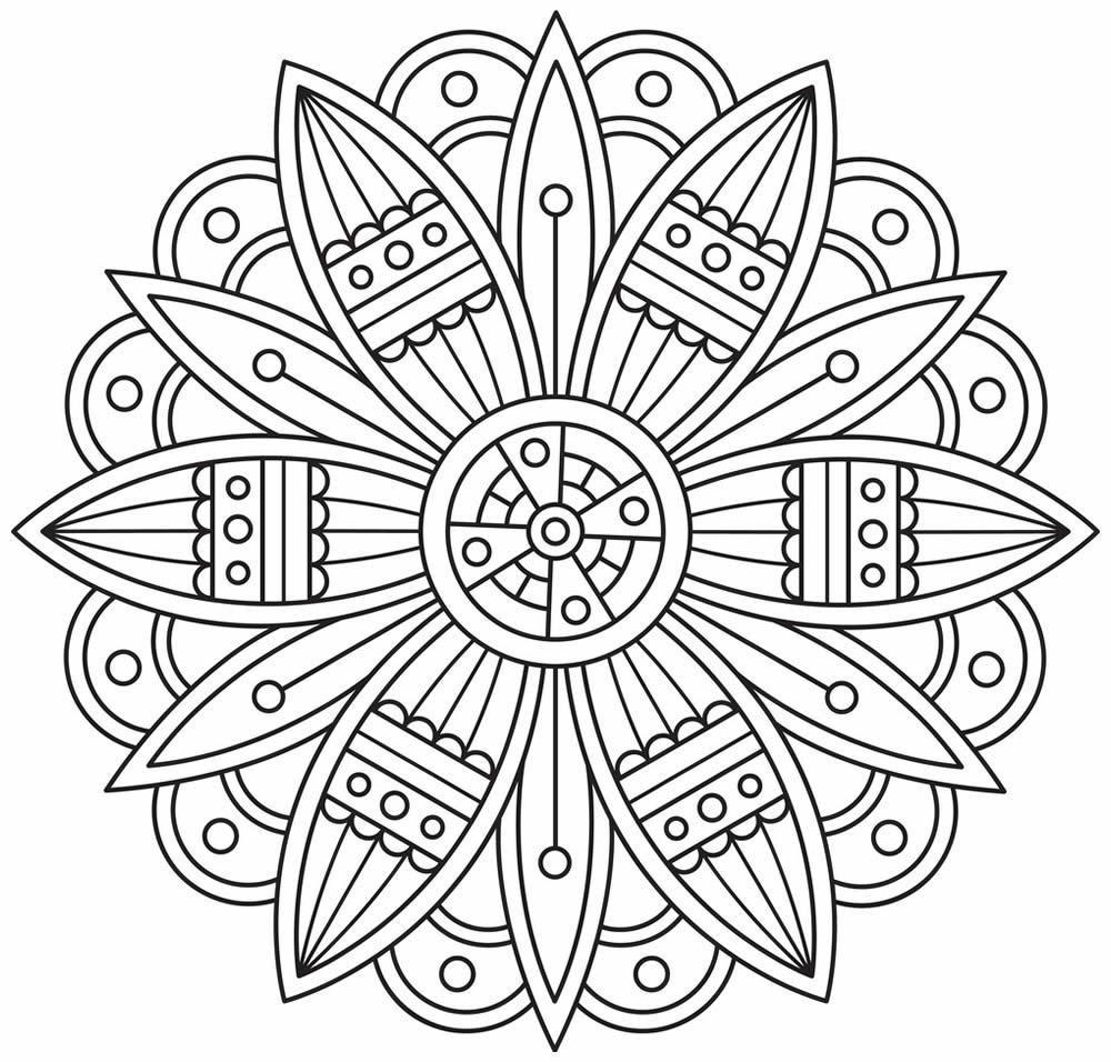 Desenho de Mandala para imprimir e colorir