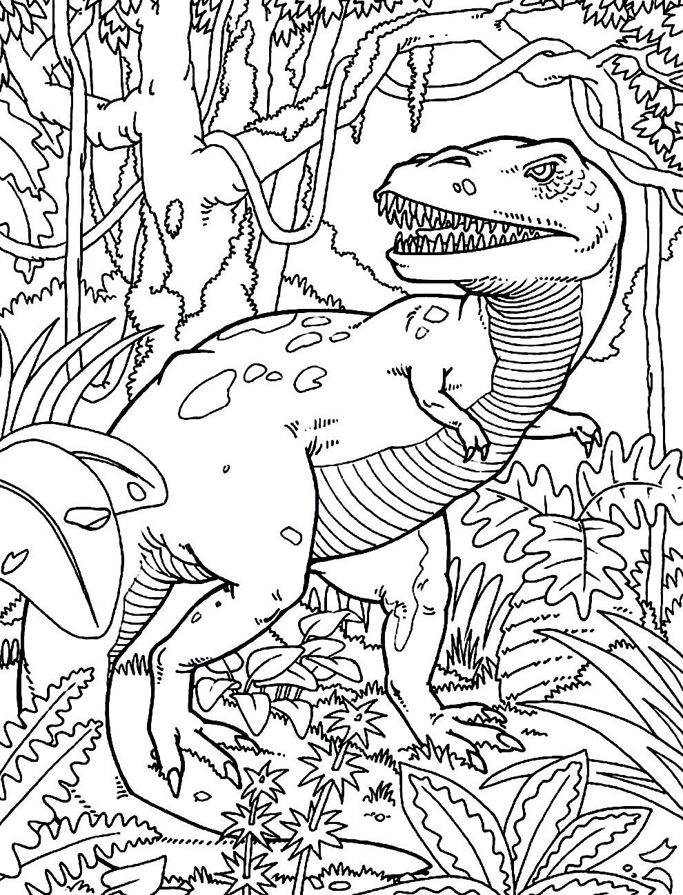 Desenho de T-Rex para colorir e imprimir