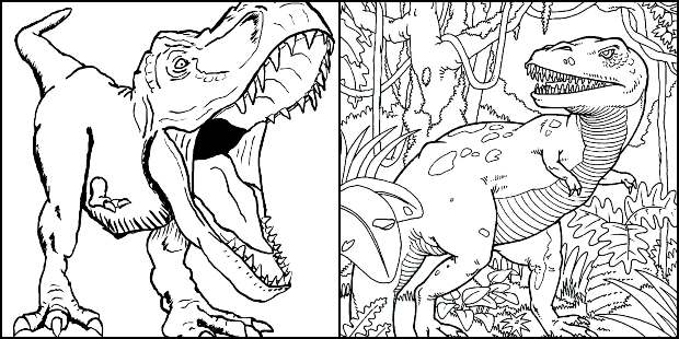 Desenhos de T-Rex para colorir e imprimir