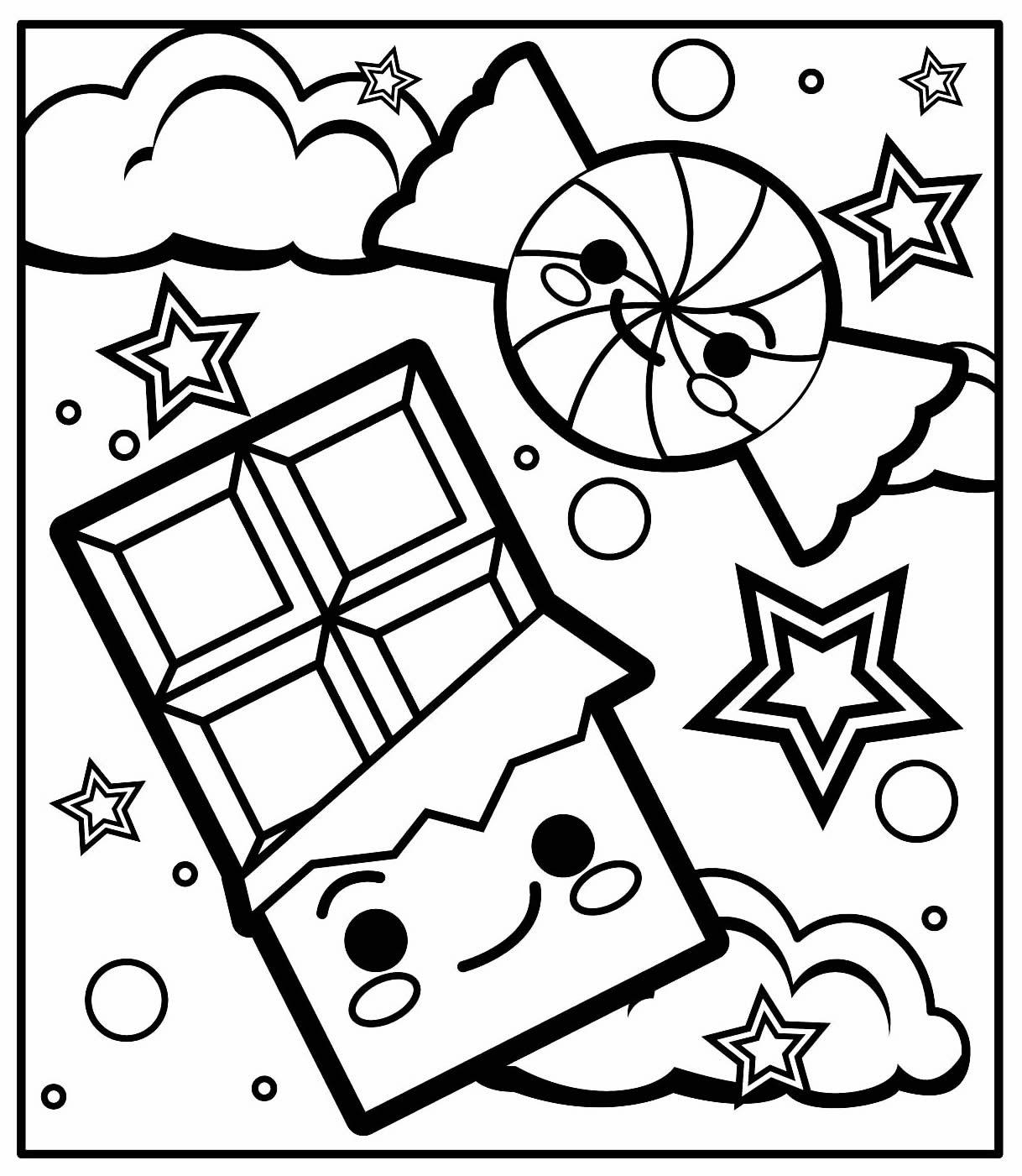 Desenho de Kawaii para imprimir e colorir
