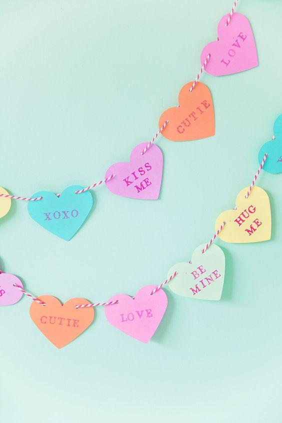 corações com mensagens