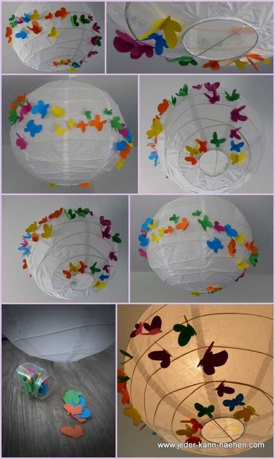 decoração de lanterna com borboletas de papel
