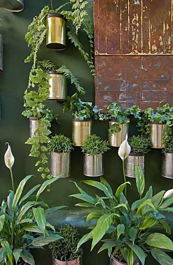 Jardim com latas