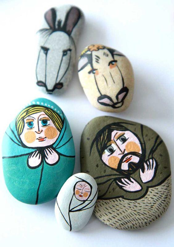 Pedras pintadas para o Natal