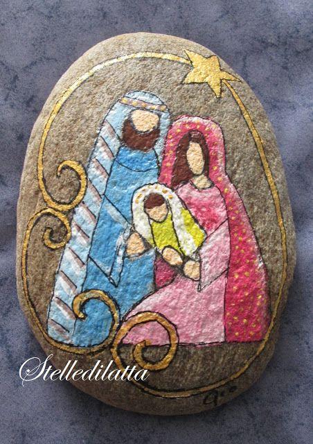 Presépio de Natal com pedras