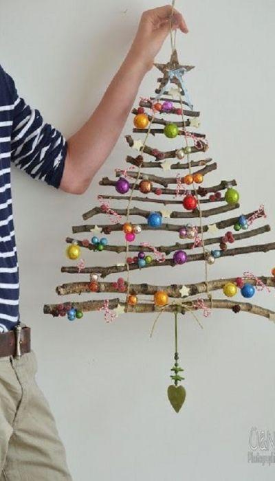 decoração de natal com gravetos