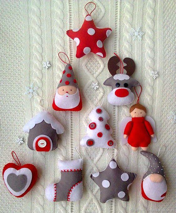 decoração natalina com feltro vários modelos