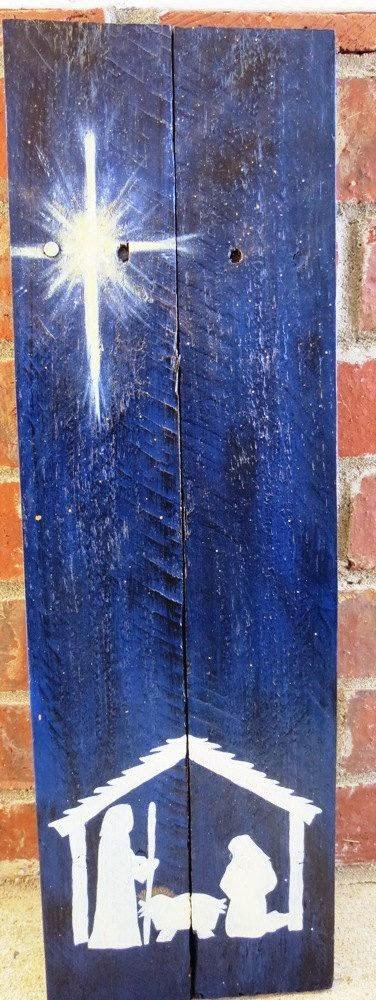Presépio de Natal pintado em madeira recilada