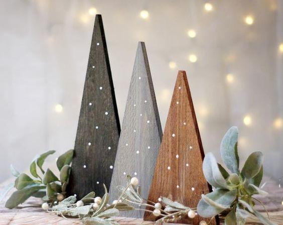 arvores de natal triangular de madeira