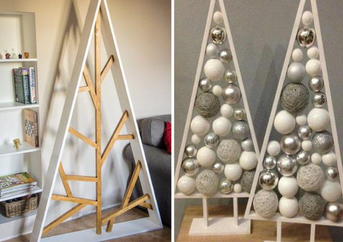 árvore de Natal triangular de madeira