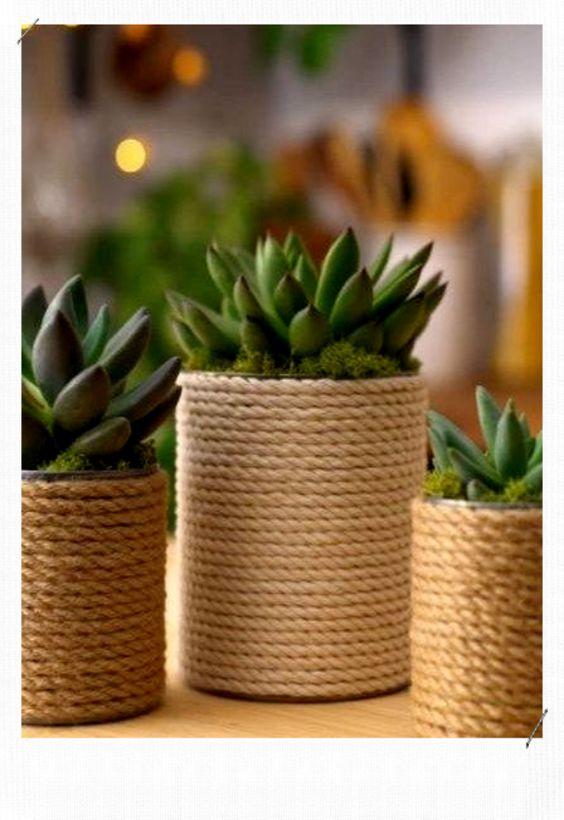 vaso decorado com corda de sisal