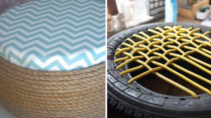 como fazer puff de pneu com cordas