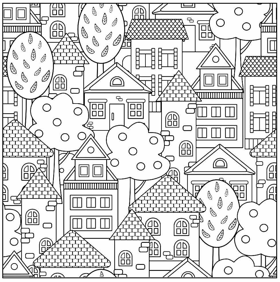 Desenho de Casas para colorir