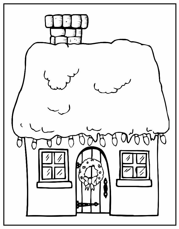 Desenho de Casa para colorir - Natal