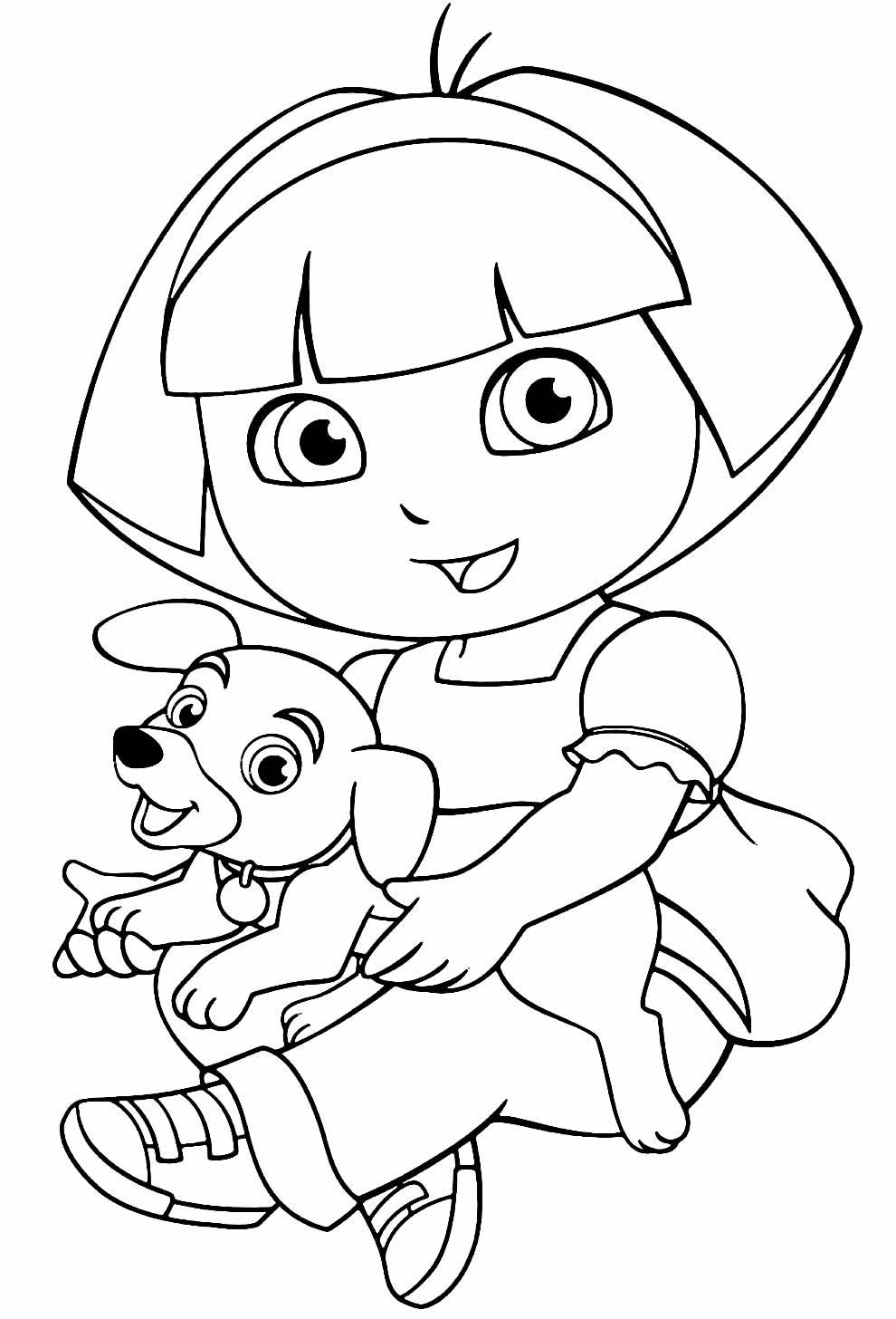 Lindo desenho de Dora Aventureira para pintar