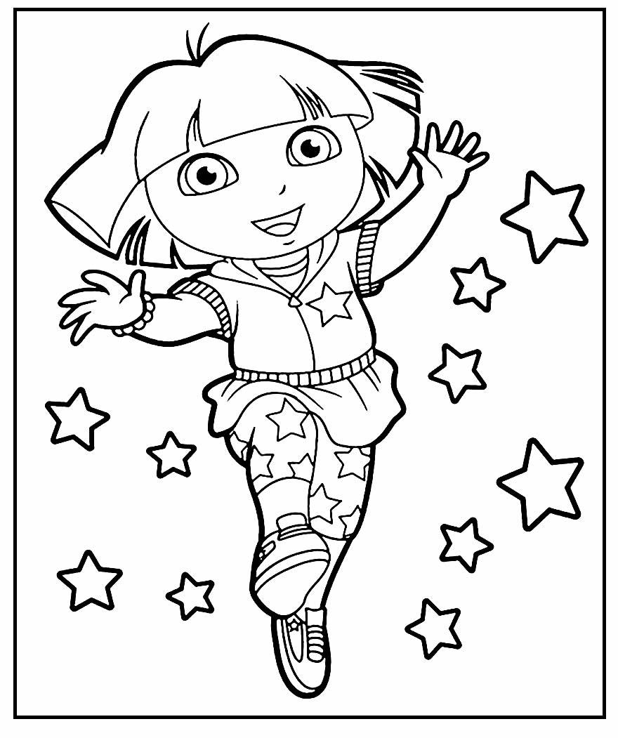 Desenho de Dora Aventureira para pintar e colorir