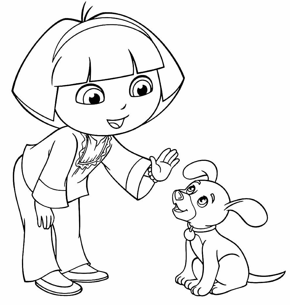Desenho de Dora Aventureira para pintar