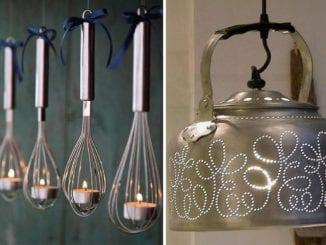 luminárias com utensílios de cozinha
