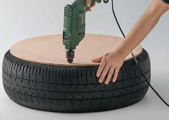 fixando placa de mdf em puff de pneu