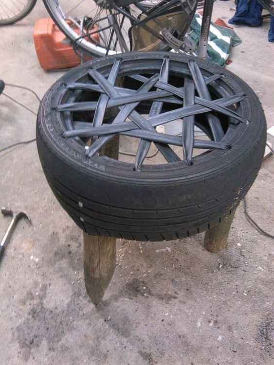 puff de pneu com borracha