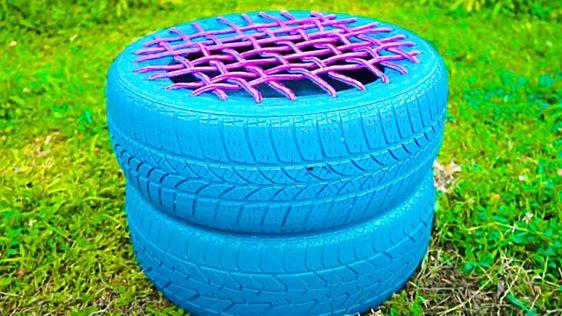 puff de pneu com cordas (