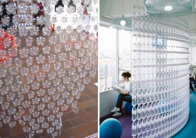 decoração com garrafas pet