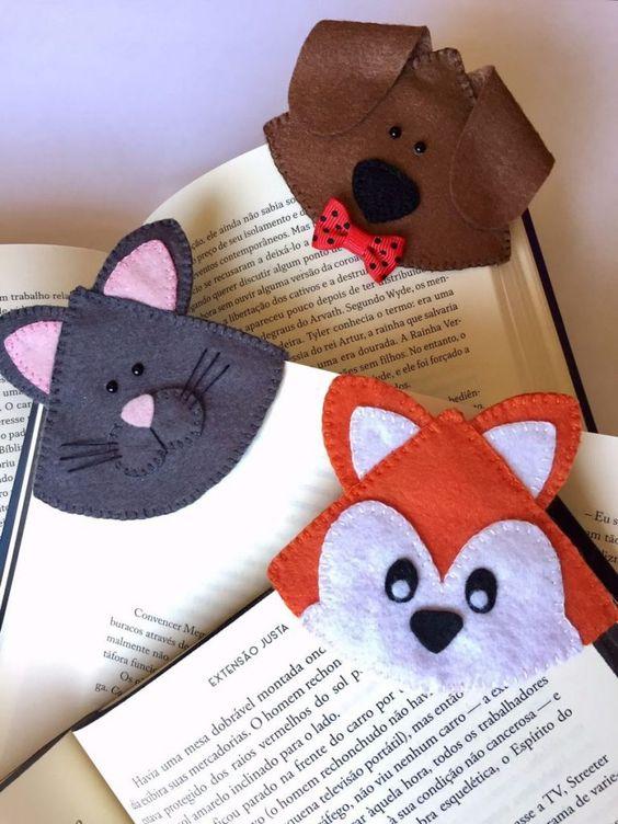 marcador de livros em feltro