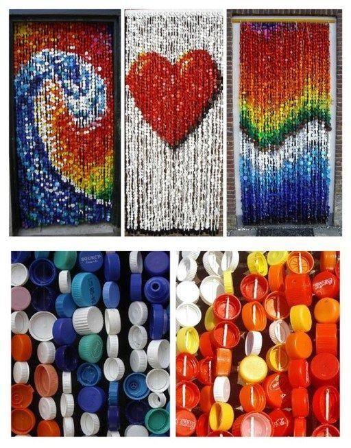 cortina com tampinhas de garrafas pet