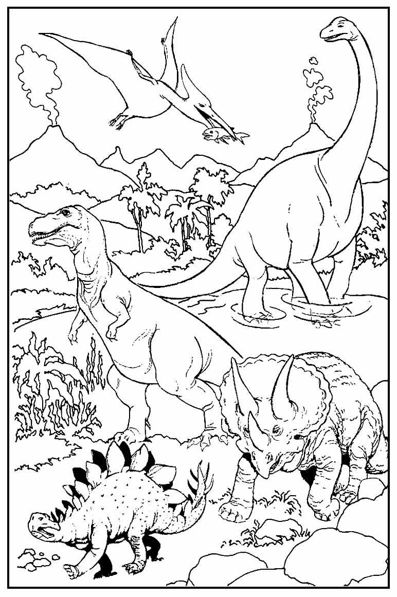 Página para colorir de Dinossauros