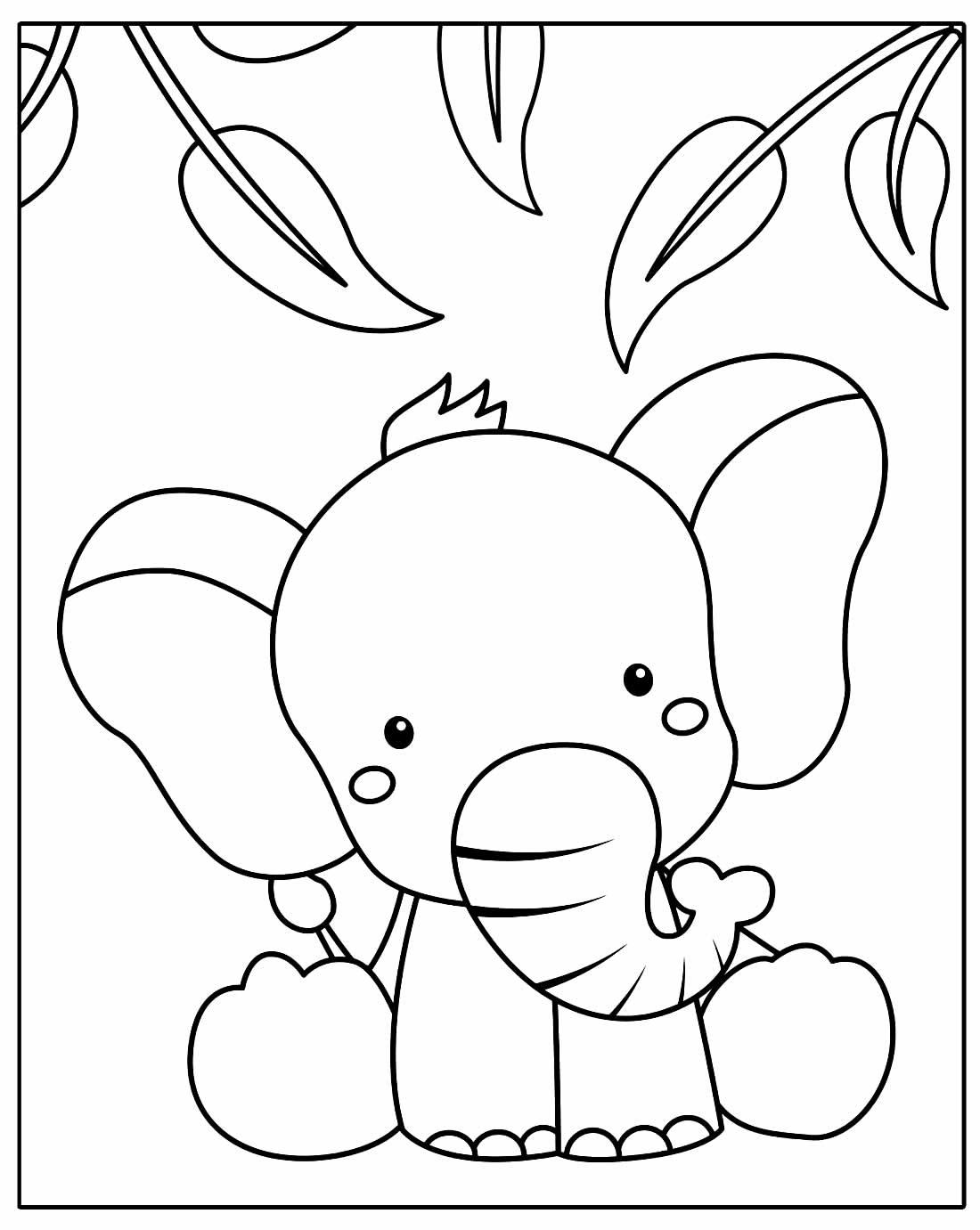 Desenho para pintar e colorir de Elefante