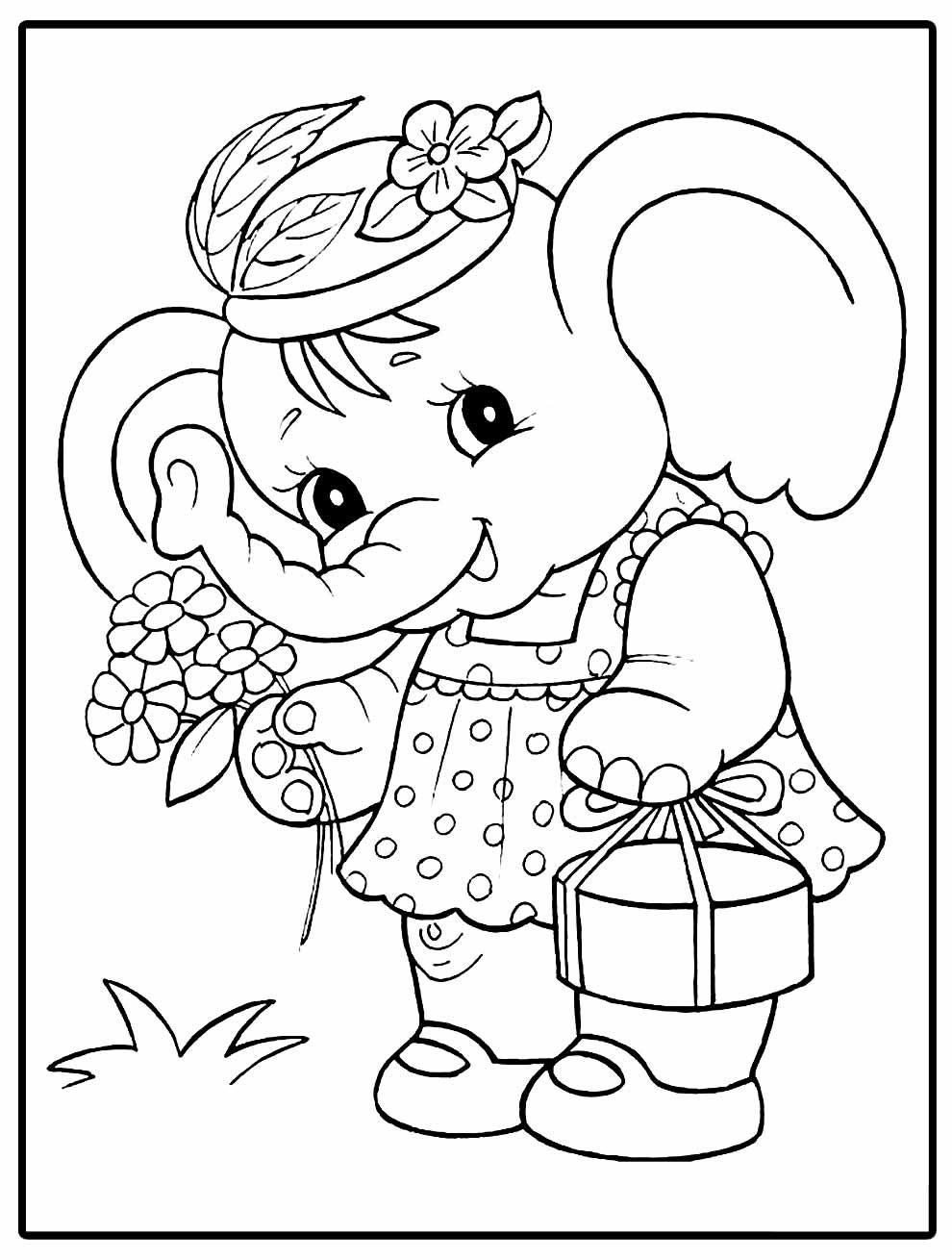 Desenho para pintar e colorir de Elefante fofo