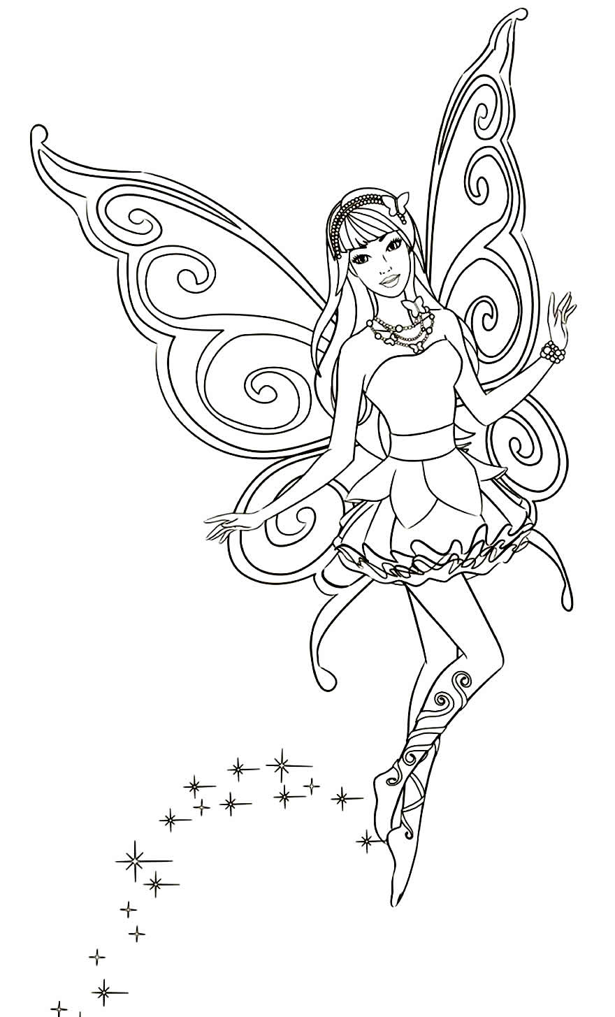 Desenho de Fada para pintar e colorir