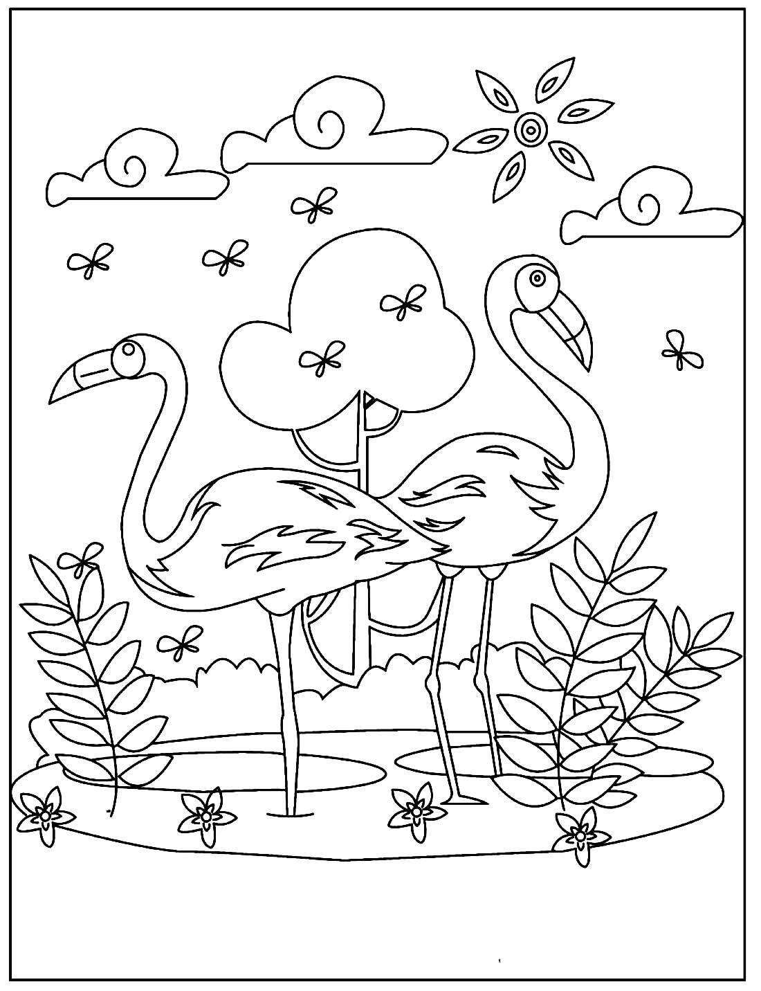 Desenho lindo de Flamingo para colorir