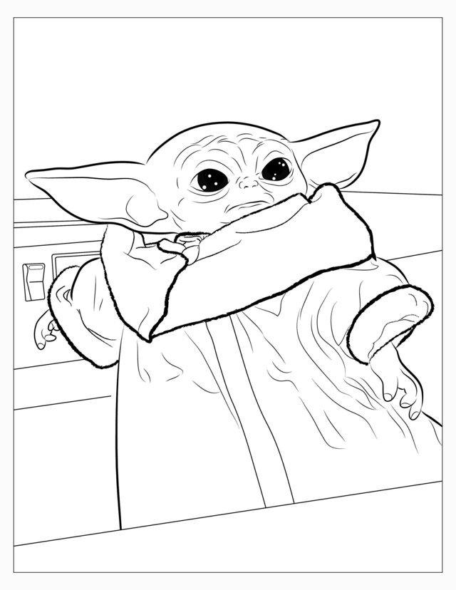 desenho do baby yoda para colorir
