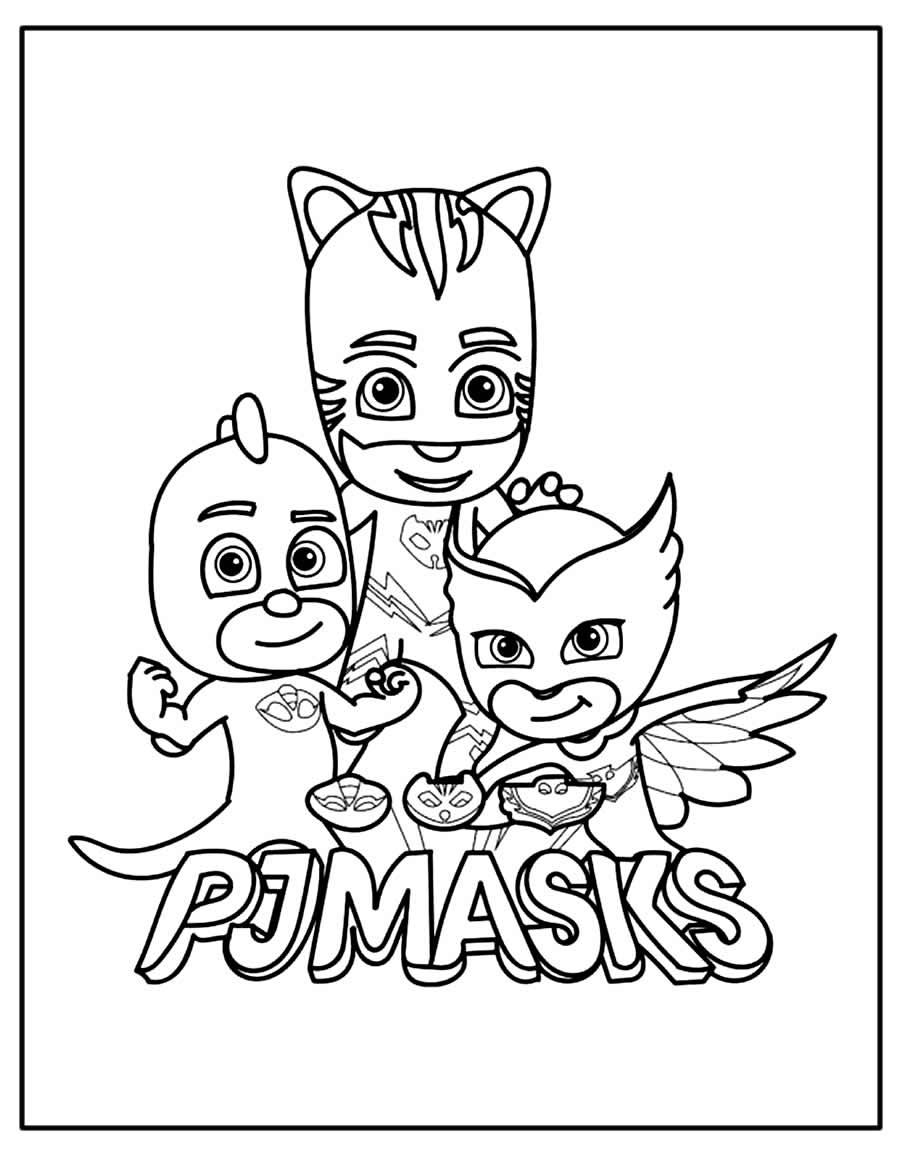 Página para pintar de PJ Masks