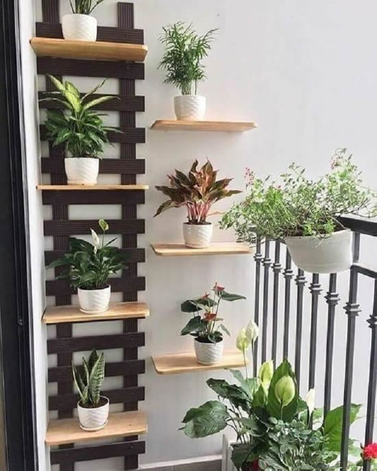 Painel de madeira para jardim vertical