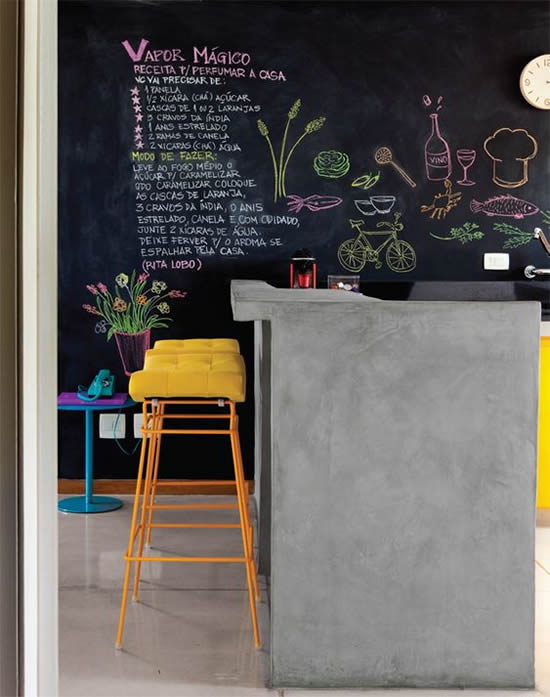 como fazer parede de lousa quadro negro na cozinha americana