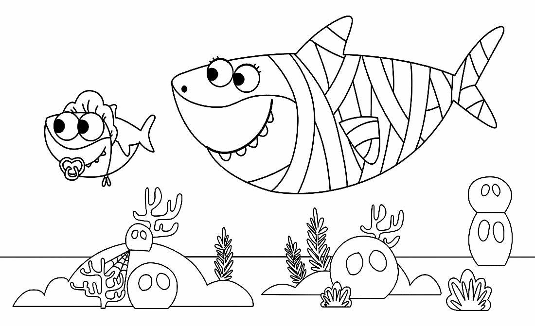 Desenho de Baby Shark para pintar