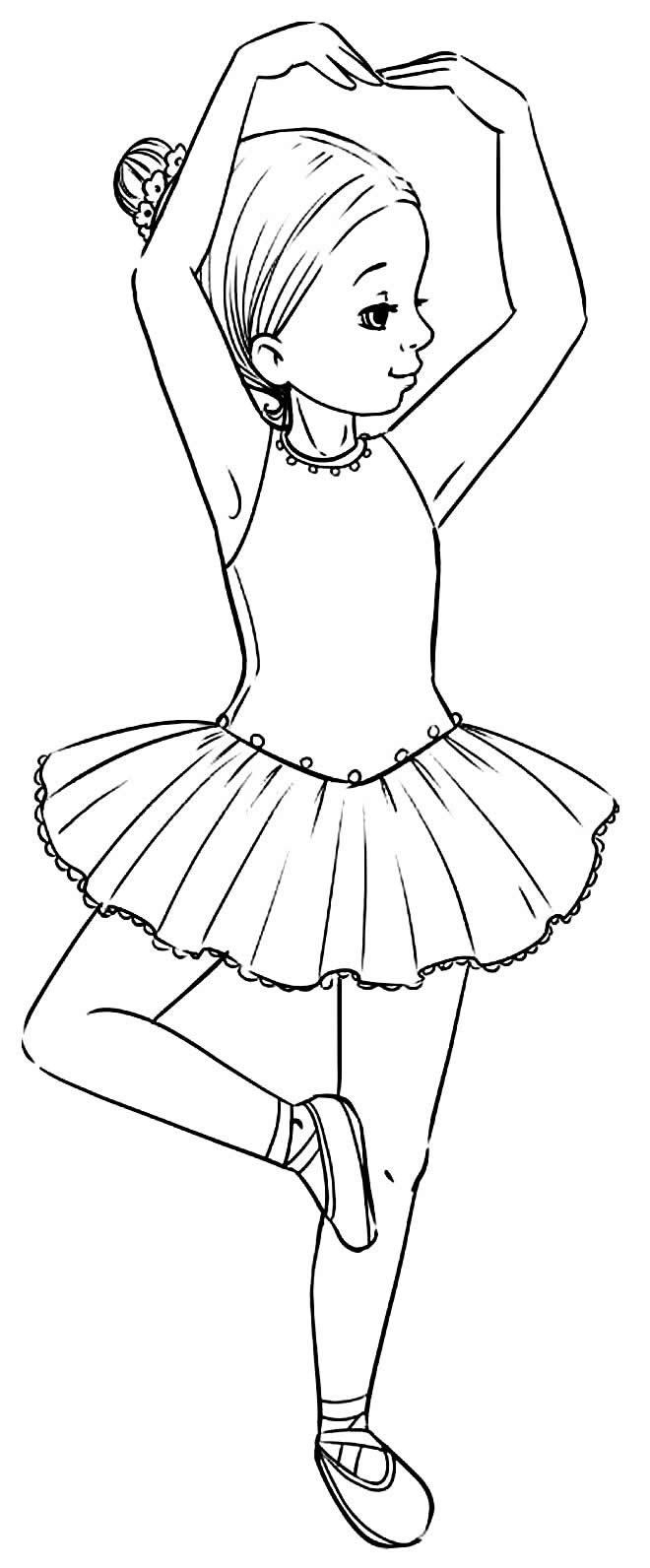 Desenho de Bailarina fofa para colorir