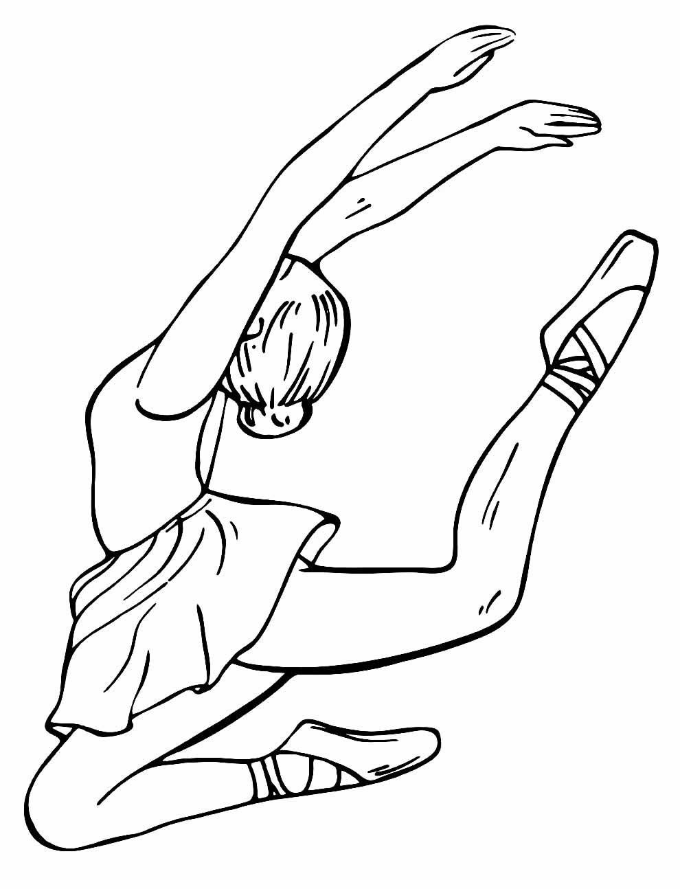 Desenho de Bailarina para colorir e pintar