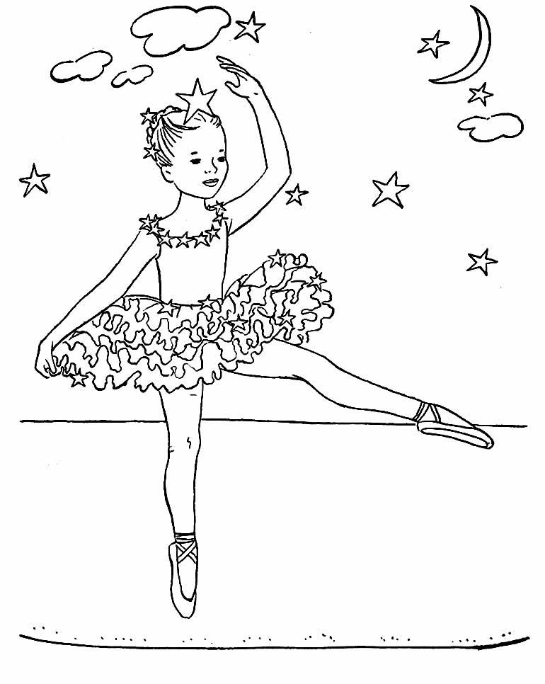 Lindo desenho de Bailarina para pintar