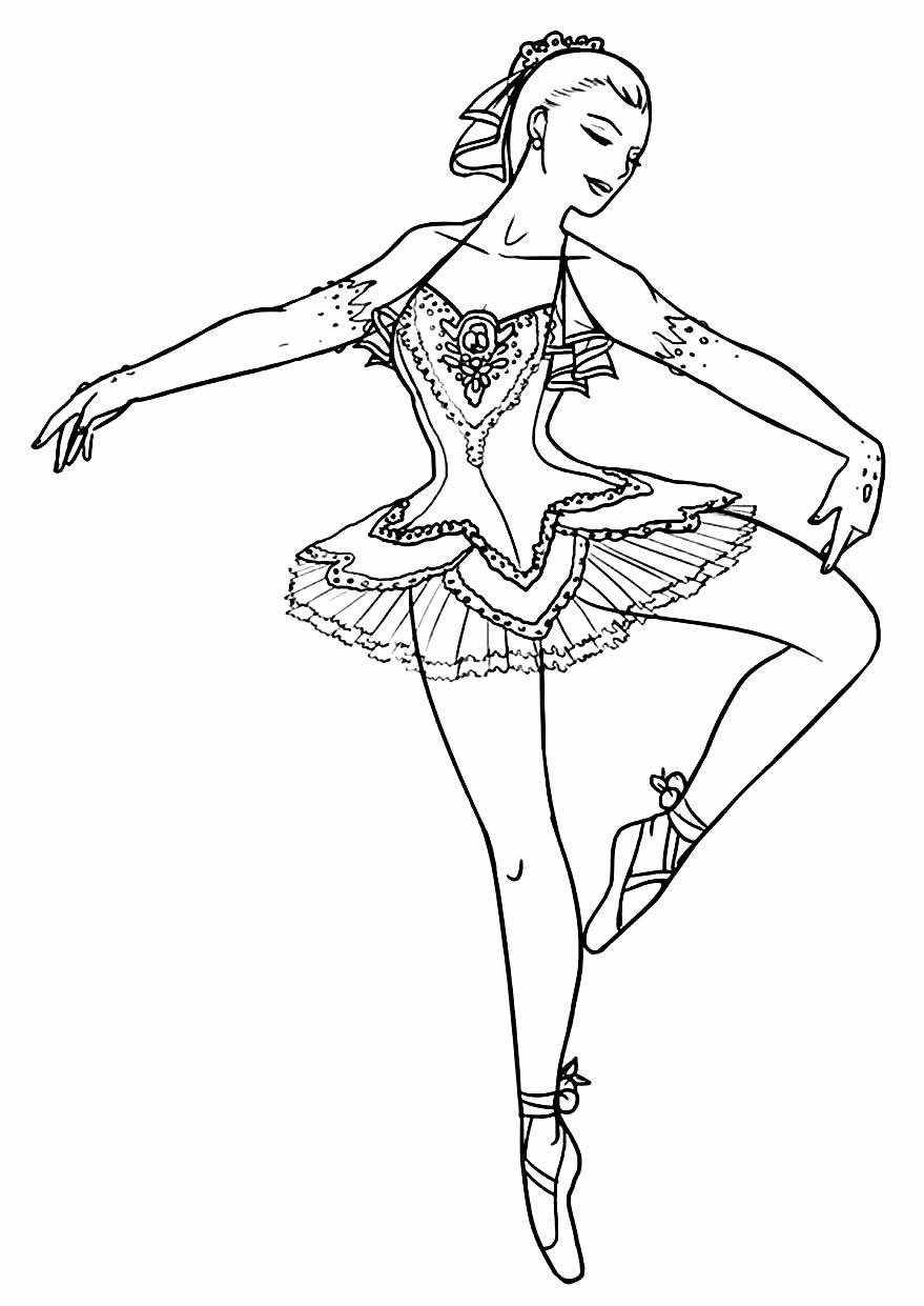 Desenho para pintar e colorir de Bailarina