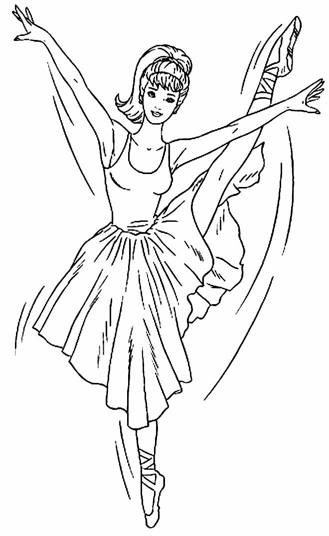 Desenho para pintar e colorir de Bailarina - Barbie