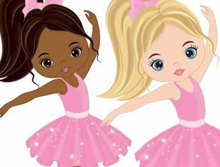 Desenho de Bailarinas para colorir e pintar