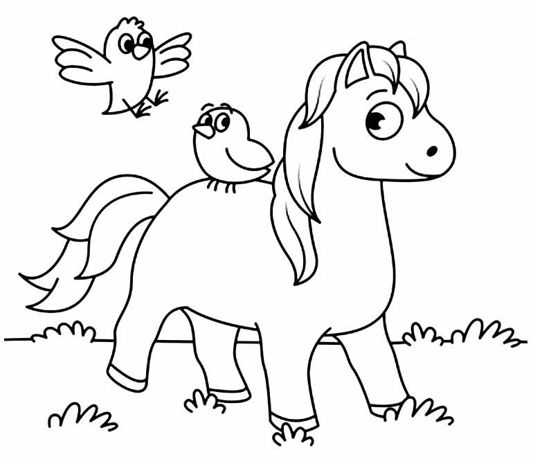 Desenho para pintar e colorir de Cavalo