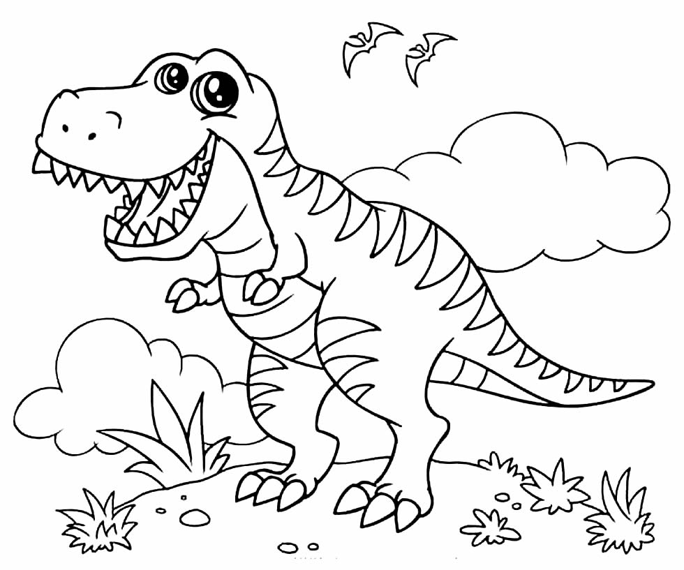 Desenho de Dinossauro T-Rex para colorir