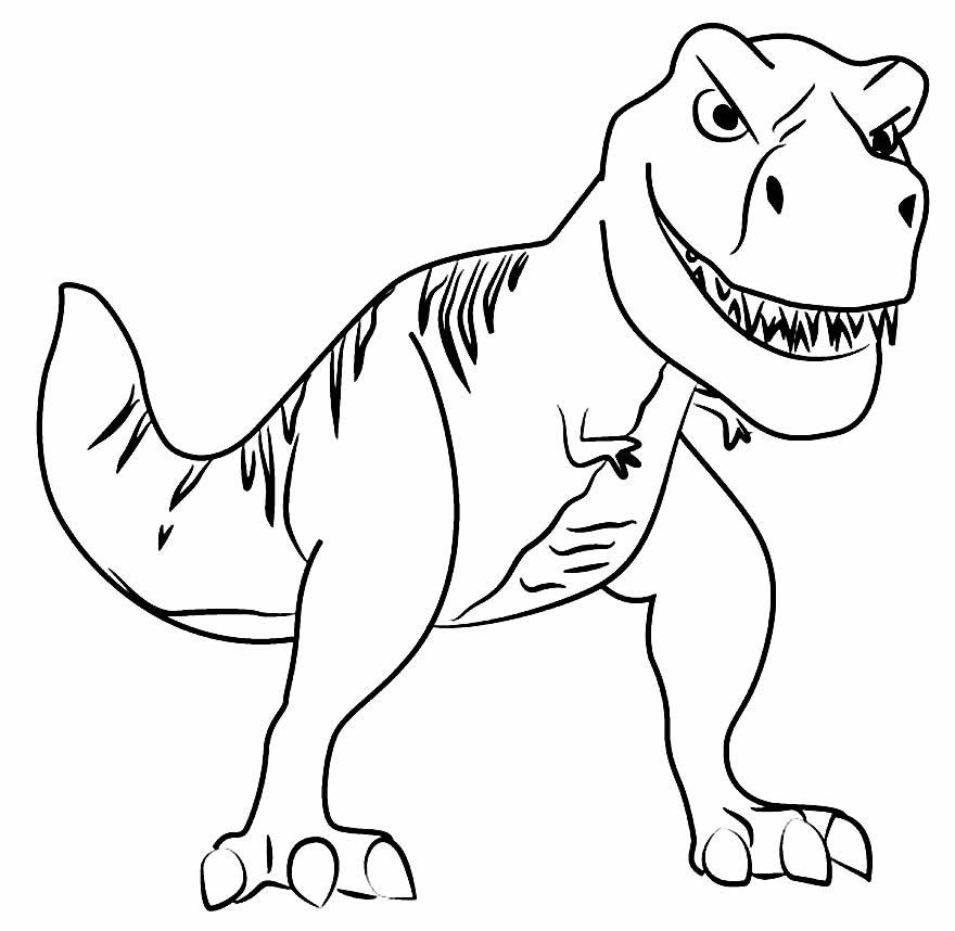 Desenho de T-Rex para colorir e pintar