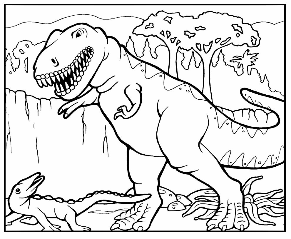 Desenho de T-Rex para colorir